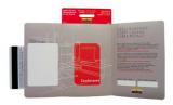 Rote Faltkarte mit Aufhaenger (geoeffnet)
